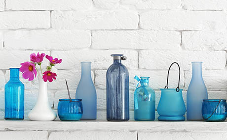 Inspiration couleurs deco bouteilles verre bleu