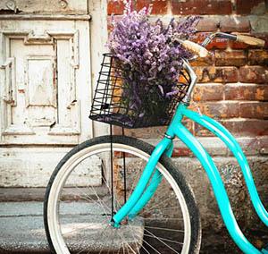 Inspiration deco fleurs velo bleu